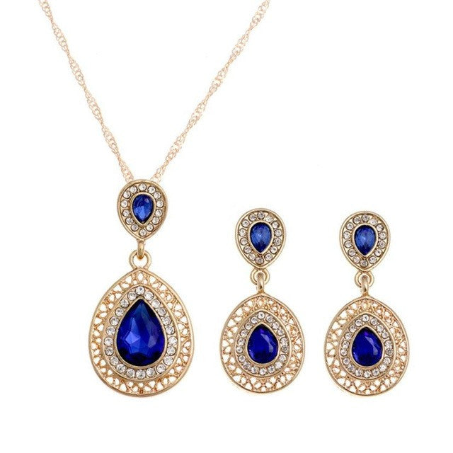 Crystal Necklace Earrings Wedding sets Bohemian Jewelry Earrings Necklace 40 + 5cm 1 X Necklace + Earrings GH25