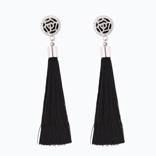 Rose carved Bohemian Tassel Long Earrings For Boho Style Brand New Summer Style Drop Earring Fashion StateBoho Stylet Jewelry For Boho Style