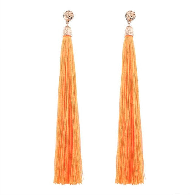 Hippie Jewelry Bohemian Earrings Boho Style Long Tassel Fringe Dangle Earrings Long tassel earrings Solid color fashion earring GH25 - Gisselle Morales