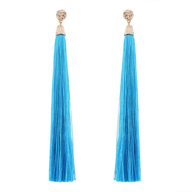 Hippie Jewelry Bohemian Earrings Boho Style Long Tassel Fringe Dangle Earrings Long tassel earrings Solid color fashion earring GH25