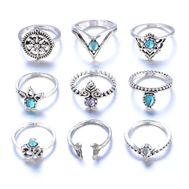 New style 9pcs/Set Boho Style Bohemian Vintage Silver Stack Rings Above Knuckle Blue unique structure Rings Set 45 - Gisselle Morales