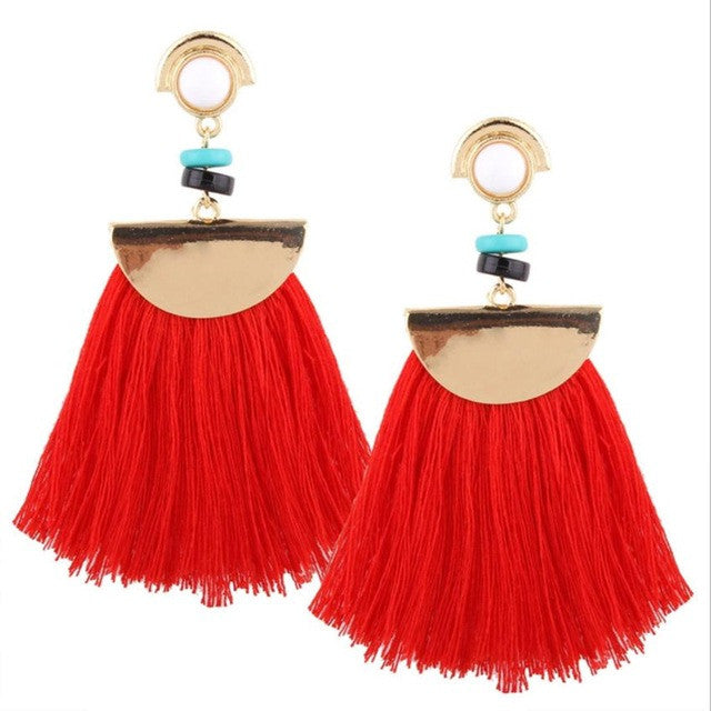 Tassel Earrings Fashion Bohemian Earrings Boho Style Long Tassels Fringe Boho Dangle Earrings Jewelry #30 - Gisselle Morales