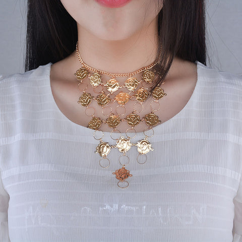 Bohemian Flower Ethnic Metal Turkish Gypsy Boho Beach Choker Bib Coin Choker StatenBoho Stylet Necklace Boho Style Tribal Jewelry #GH20 - Gisselle Morales
