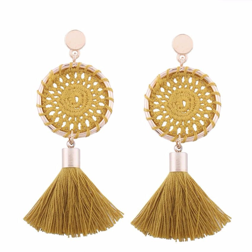 Fashion Bohemian Vintage Long Tassel Fringe Boho Dangle Earrings Boho Style Jewelry Circular knit fringe Earrings #30