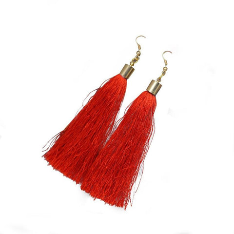 Bohemian Earrings Boho Style Long Tassel Fringe - Gisselle Morales