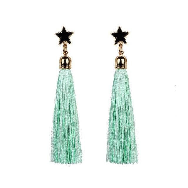 Bohemian Boho Style Ethnic Hanging Rope Tassel Earrings Pentagram Tassel Earrings Long Tassel Dangle Earrings Pendientes GH30 - Gisselle Morales