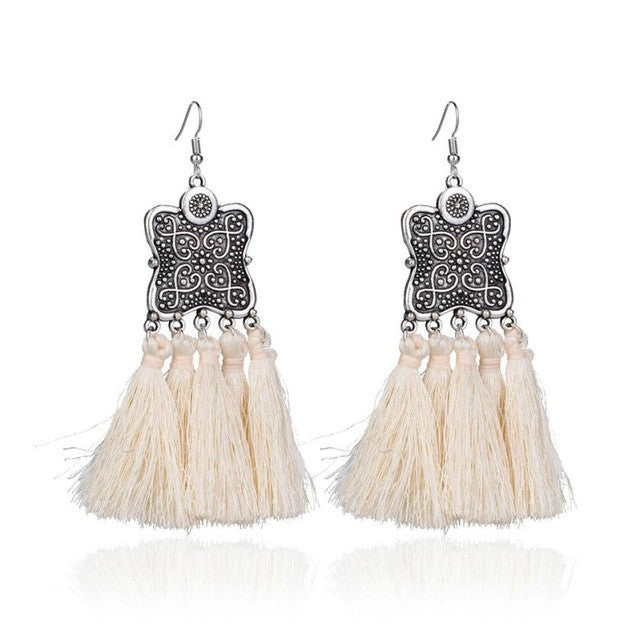 Vintage Thread Tassel Fringe Earrings Big Pearl Boho Style Drop Dangle Earrings Jewelry Retro Shield Carved Tassel Earrings New