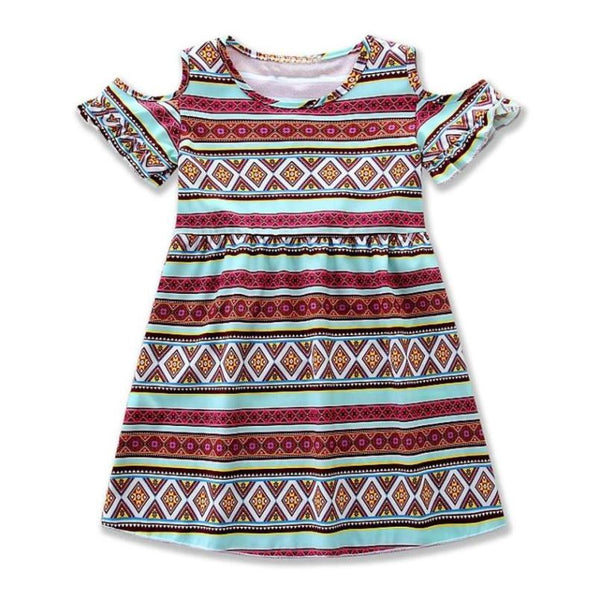 Boho Dress Kids Dresses Girls Coustomes with Off Shoulder Print Summer Robe Fille Enfant Bohemian Dress
