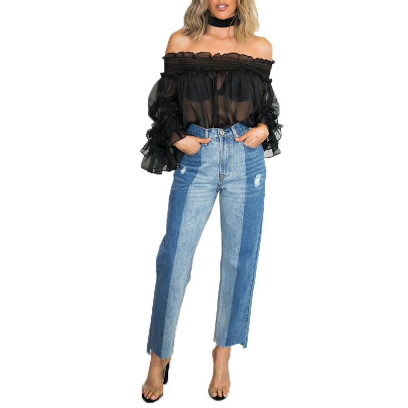 Boho Style Off Shoulder See-through Party Club Tops Shirt Blusas Autumn Ruffled Long Sleeve Casual Loose Solid Top Blouse