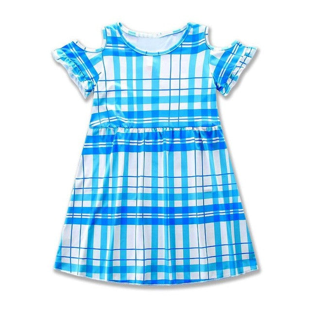 Kids Party Dresses for Girls Clothes Off Shoulder Princess Dress with Plaid Printing Summer Bohemian Hollow Dress