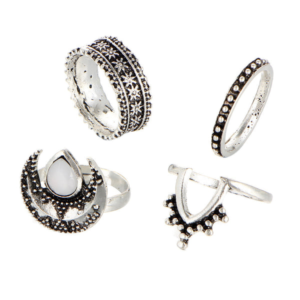 4pcs/Set Boho Style Bohemian Vintage Silver Stack Rings Above Knuckle Blue Rings Set - Gisselle Morales