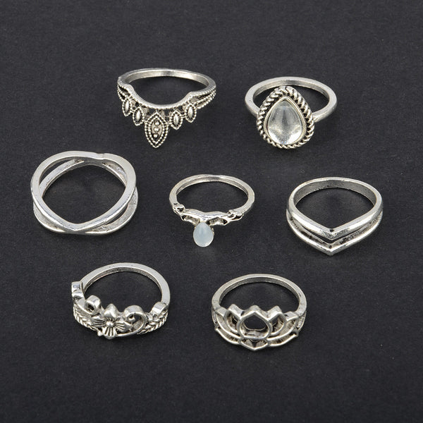 7pcs/Set Women Bohemian Vintage Silver Stack Rings Above Knuckle Blue Rings Set
