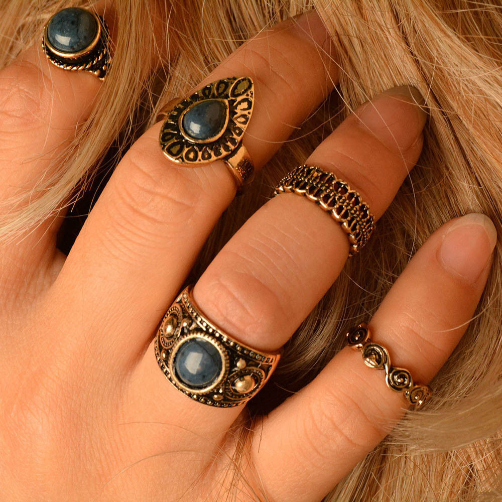 5pcs/Set Boho Style Bohemian Vintage Silver Stack Rings Above Knuckle Rings Set - Gisselle Morales