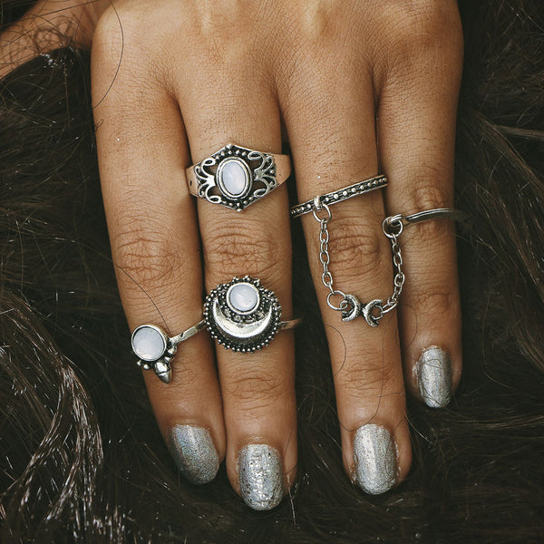 5pcs/Set Boho Style Bohemian Vintage Silver Stack Rings Above Knuckle Blue Rings Set - Gisselle Morales