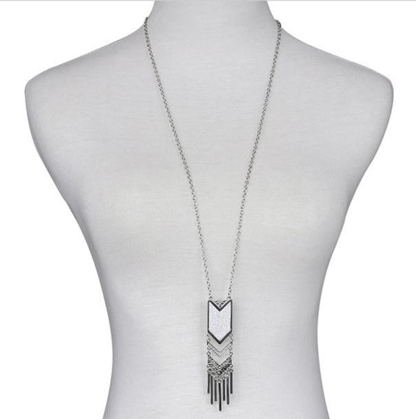 Long Necklace Bohemian Tassel Pendant Necklace New Matte Triangle Necklace GD - Gisselle Morales