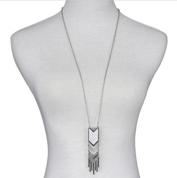 Long Necklace Bohemian Tassel Pendant Necklace New Matte Triangle Necklace GD
