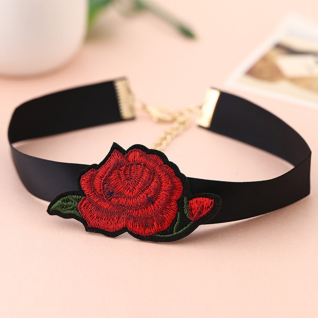 Boho Style Bohemian RED Flower Embroidery Choker Collar Necklace Jewelry Gift