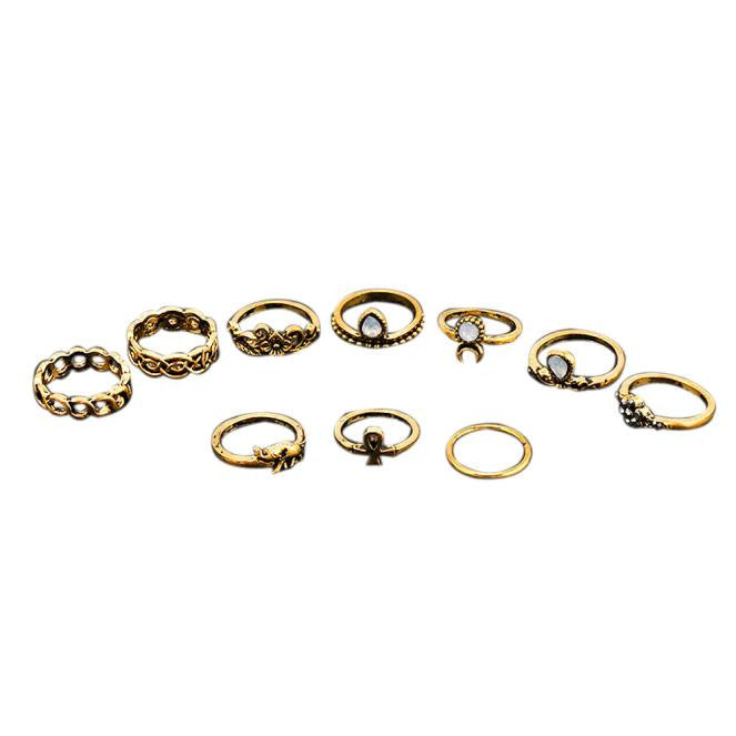 10Pcs/ Set Boho Arrow Moon Midi Finger Knuckle Rings - Gisselle Morales