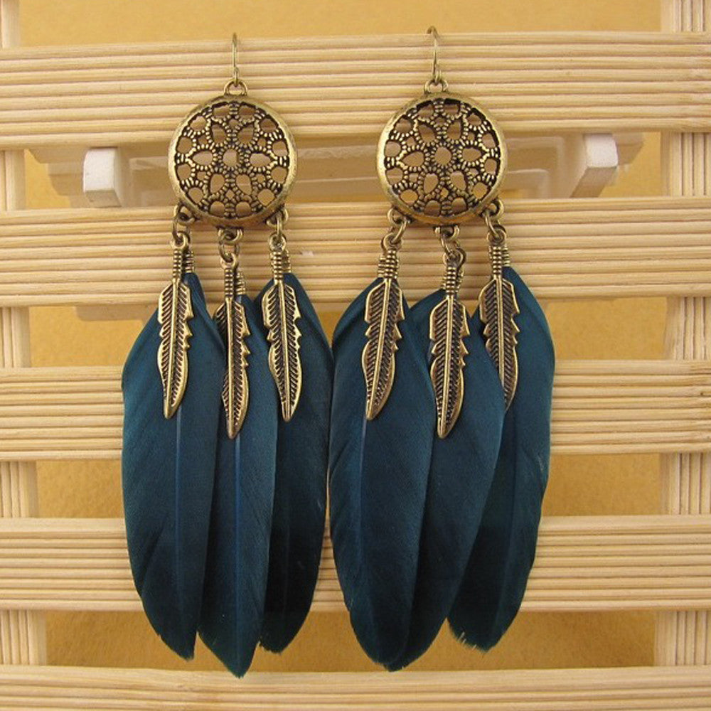 Bohemia Feather Long Design Dream Catcher Earrings for Boho Style Jewelry - Gisselle Morales