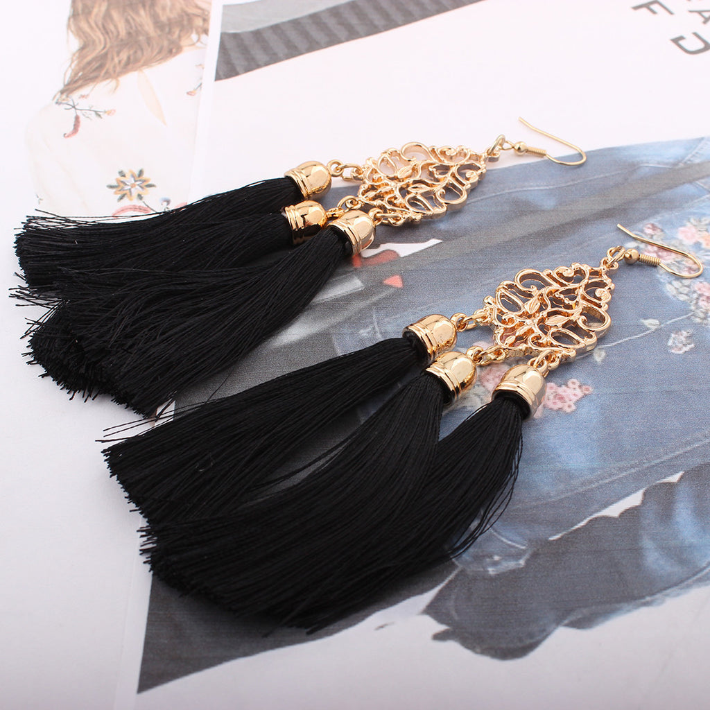 Fashion Bohemian Earrings Boho Style Long Tassel Fringe Dangle Earrings Jewelry