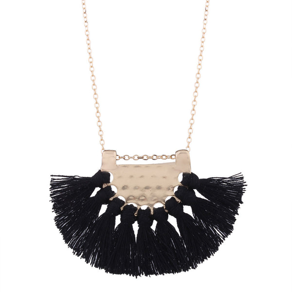 Fashion Bohemian Necklace Boho Style Long Tassel Fringe Dangle Necklace Jewelry
