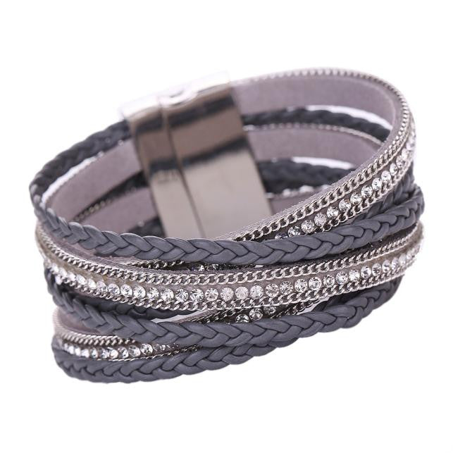 Boho Style Bohemian Bracelet Woven Braided Handmade Wrap Cuff Magnetic Clasp Black - Gisselle Morales