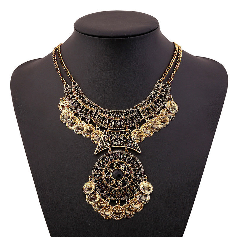 Boho Style Bohemian Festival Jewelry Double Chain Coin StateBoho Stylet Necklace SL