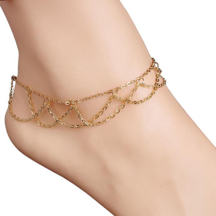 Wavy Fringed Anklets Beach Jewelry Barefoot Sandal Link Mesh Tassel Chain - Gisselle Morales