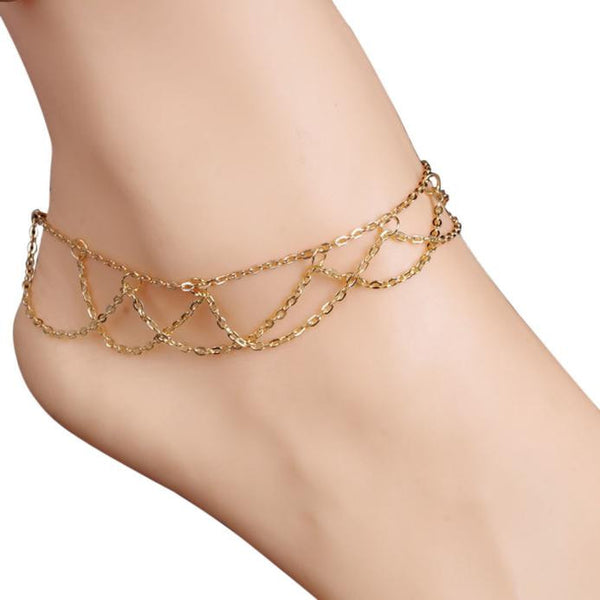 Wavy Fringed Anklets Beach Jewelry Barefoot Sandal Link Mesh Tassel Chain