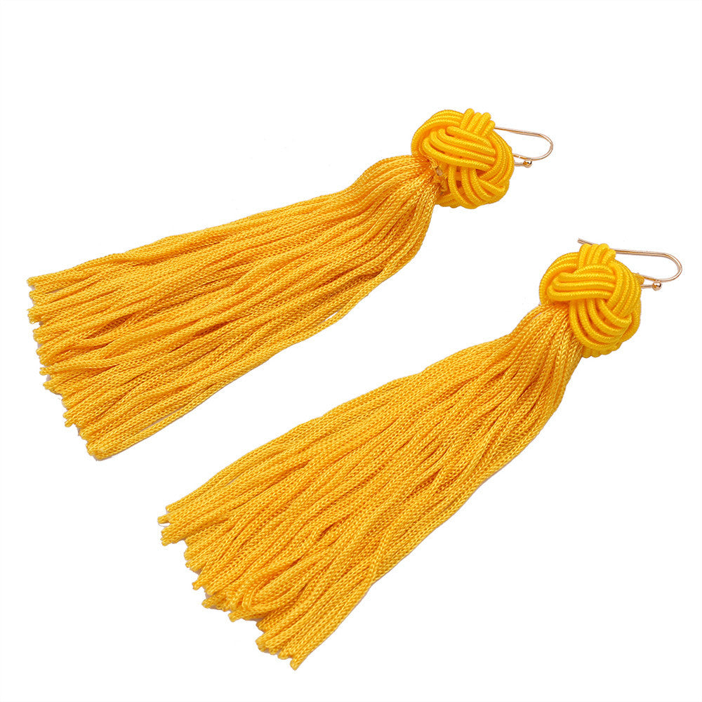 Vintage Boho Style Bohemian Fashion Weave Tassel Earrings Long Drop Earrings Jewelry