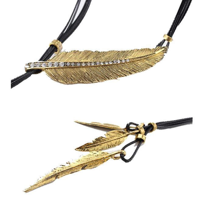 Fashion Bohemian Style Black Rope Chain Feather Pattern Pendant Necklace GD