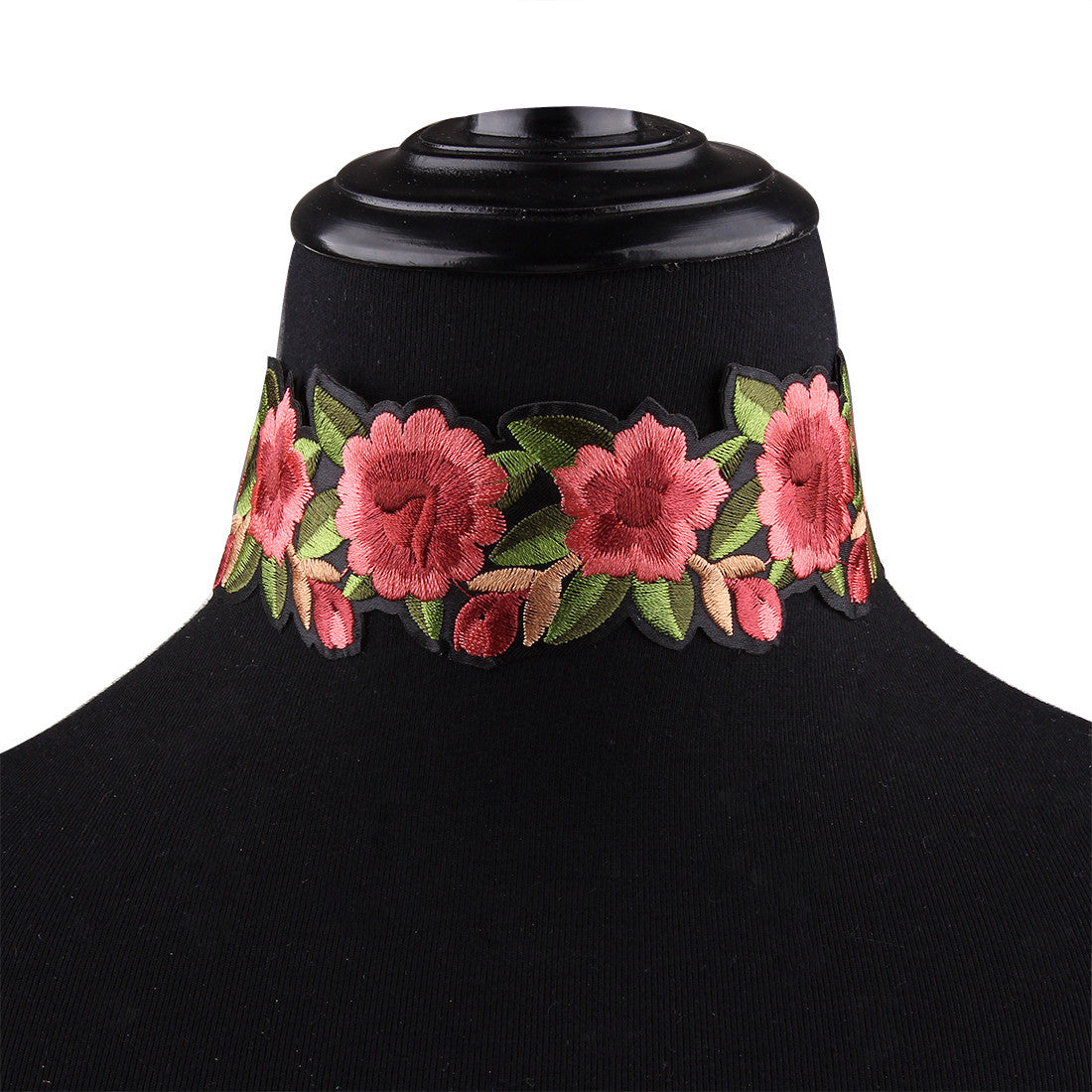Boho Style Bohemian Printed Flower Embroidery Choker Necklace Jewelry Collar Gift