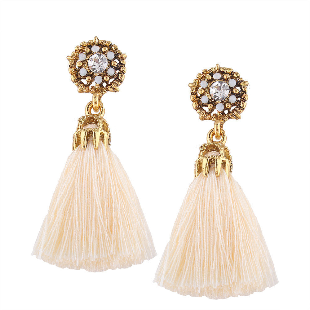 Vintage Boho Bohemian Earrings Long Tassel Fringed - Gisselle Morales