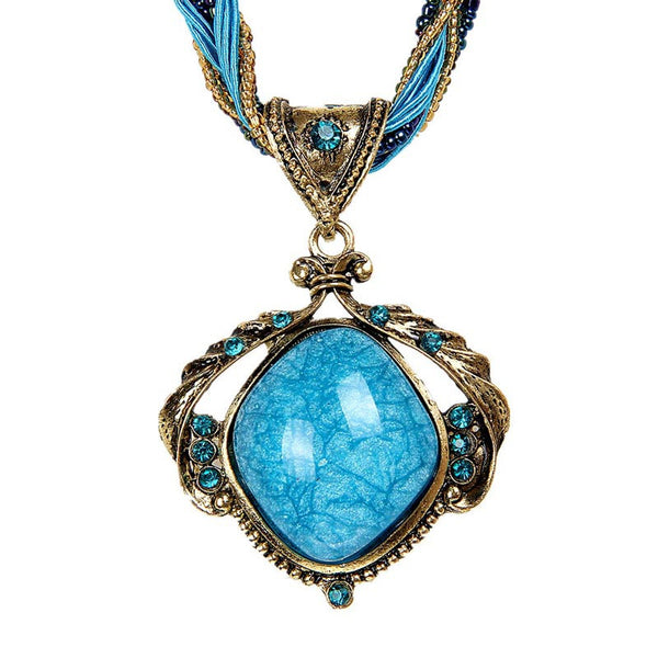 Fashion Vintage Boho Style Bohemian Crystal Necklace Opal Necklace Jewelry YE