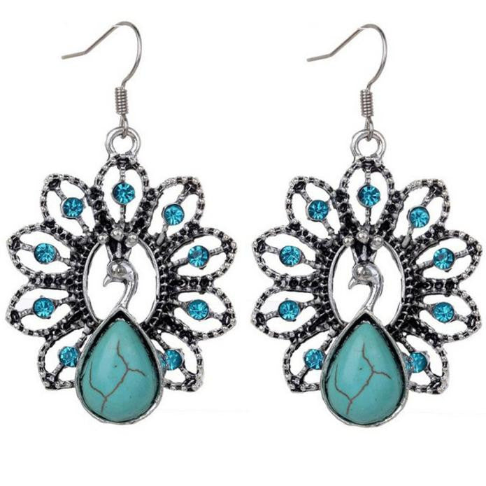 Bohemia Vintage Peacock Turquoise Earrings Delicate Carved Hollow Jewelry - Gisselle Morales