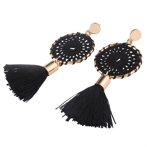 Bohemian Vintage Long Tassel Fringe Boho Dangle Earrings - Gisselle Morales