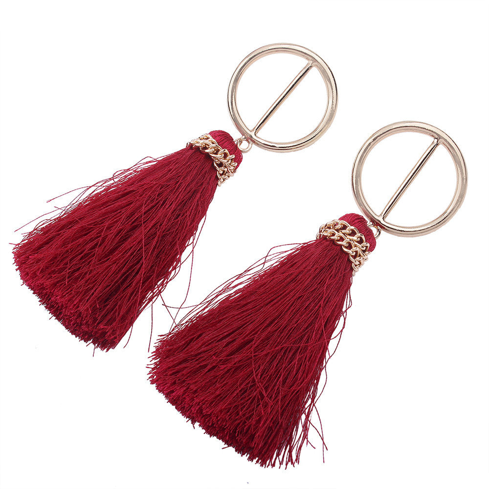 Fashion Bohemian Vintage Long Tassel Fringe Boho Dangle Earrings Boho Style Jewelry