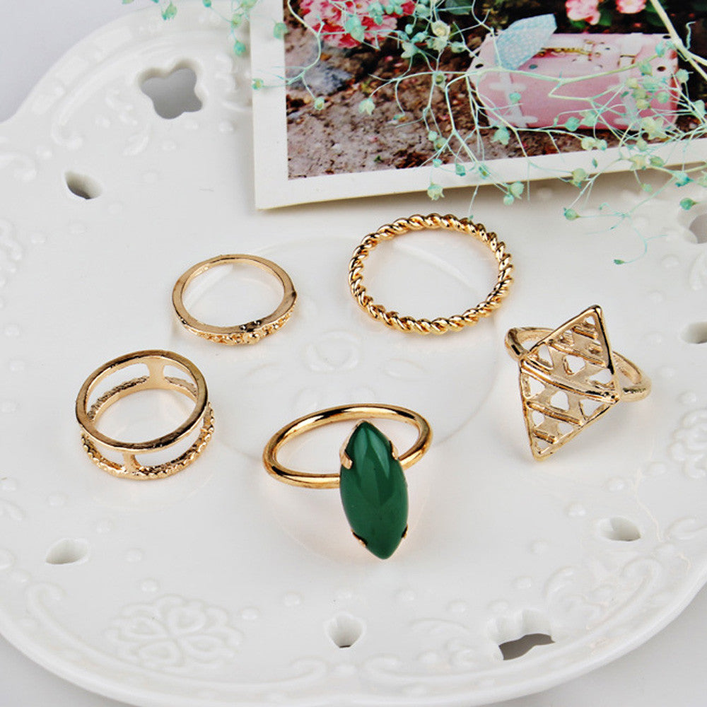 5pcs/Set Boho Style Bohemian Vintage Stack Rings Above Knuckle Rings Set - Gisselle Morales