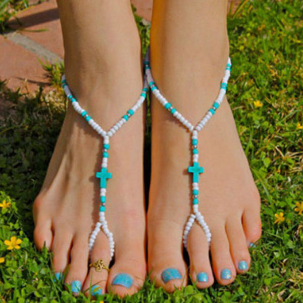 Bohemian Turquoise Cross Beads Handmade Beaded Anklet Foot Toe Chain New - Gisselle Morales