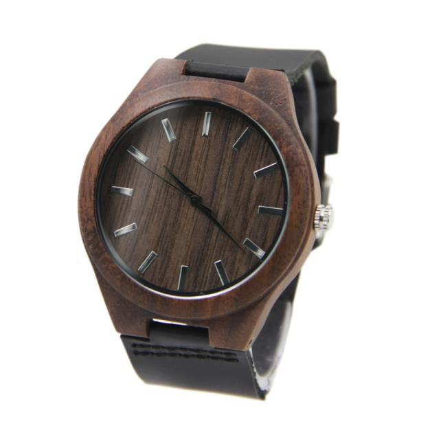 Hippie Style Leather Bamboo Wooden Watches