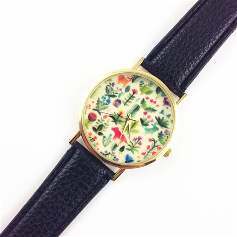 Animal Design Leather Floral Printed Analog Quartz Wrist Watch - Gisselle Morales