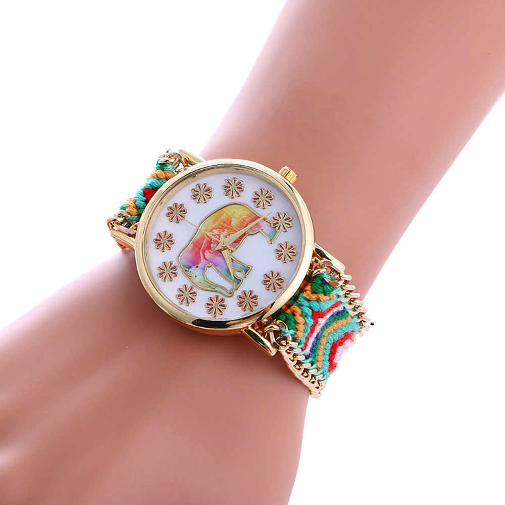 Boho & Hippie Style Watch Weaved Knitted Band Gift Elephant Ethnic - Gisselle Morales