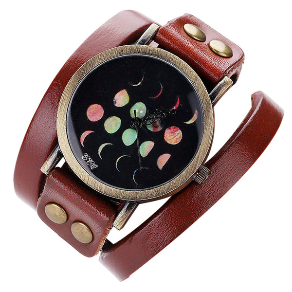Boho & Hippie Style Watch Moon Phases Eclipse Casual Analog Quartz Bracelet Watch - Gisselle Morales