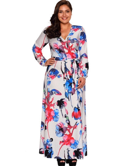 Long Sleeve Plus Size Print Maxi Dress - Gisselle Morales