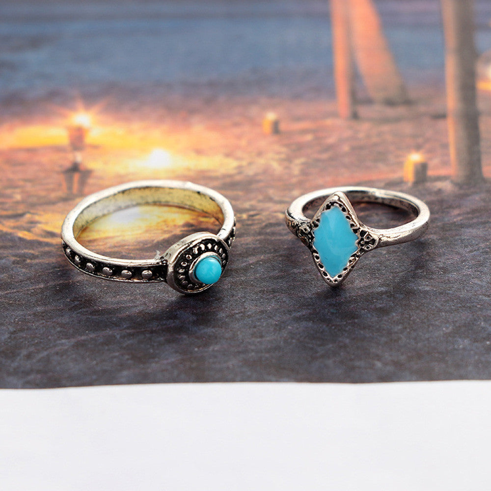 6pcs/Set Boho Style Bohemian Vintage Silver Stack Rings Above Knuckle Blue Rings Set - Gisselle Morales