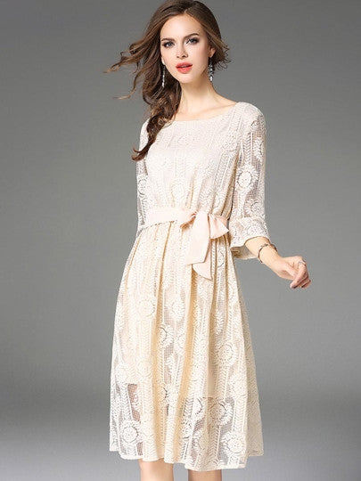 Boho Dress Apricot Half Sleeve Lace Dress - Gisselle Morales