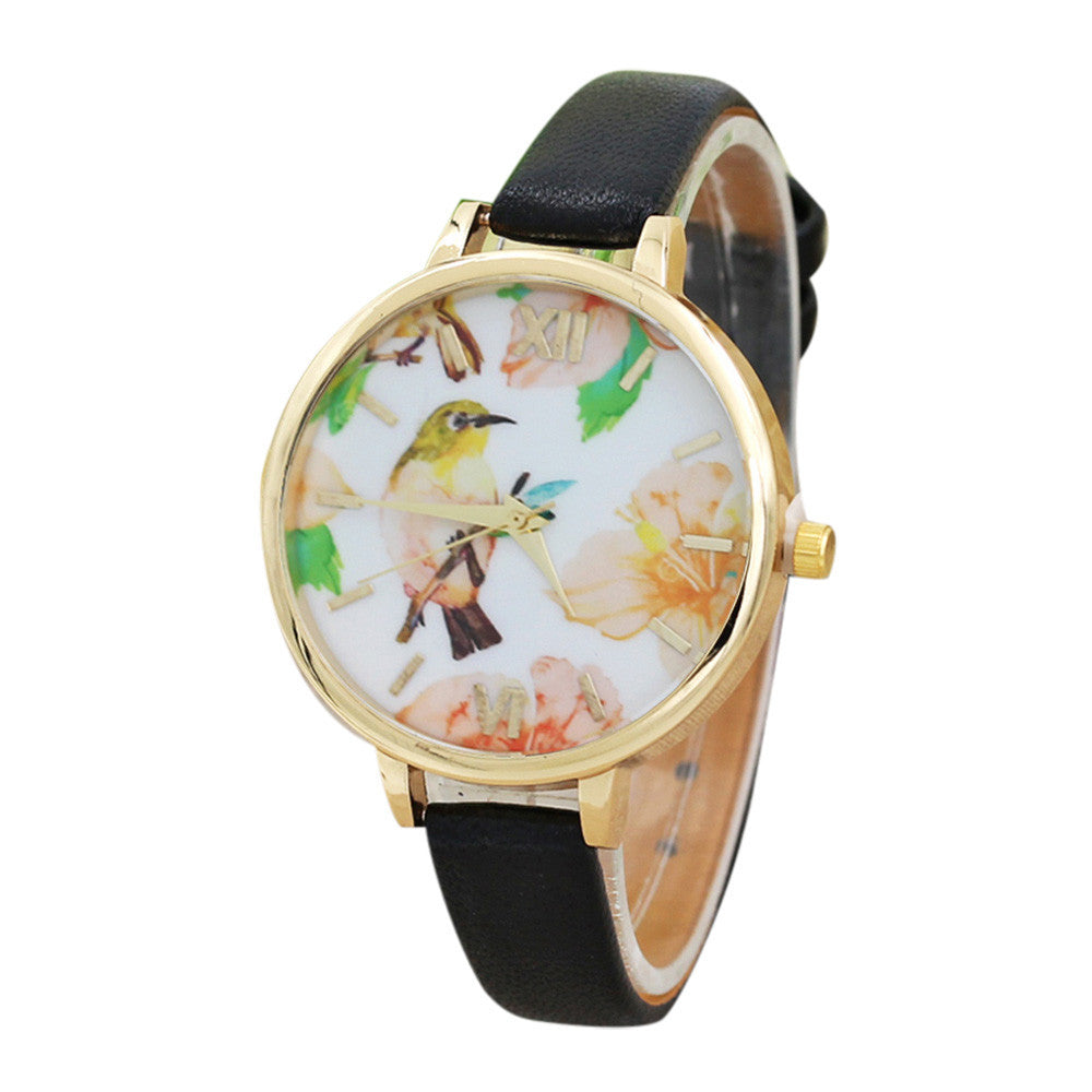 Bird Flowers Boho Style Leather Band Analog Quartz MoveBoho Stylet Wrist Watch - Gisselle Morales
