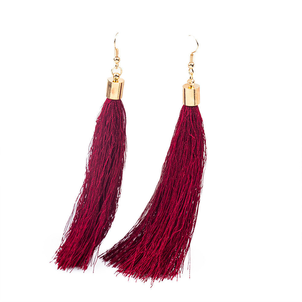 Bohemian Earrings Boho Style Long Tassel Fringe Dangle Earrings Black - Gisselle Morales