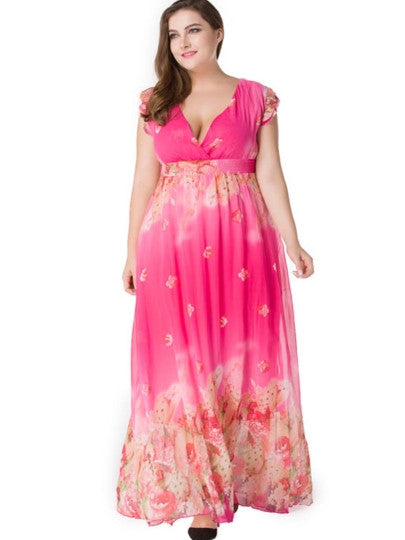 Boho Dress Plus Size V Neck Chiffon Maxi Dress