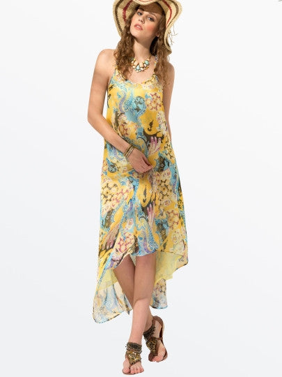 Boho Dress Asym Backless Print Halter Day Dress - Gisselle Morales